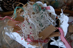 Crochet snowflakes for charity table