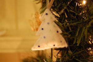 Plush Christmas Tree Blue Beads