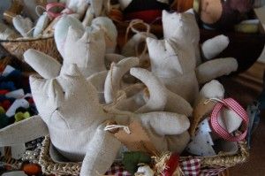 Tilda cats for charity craft table
