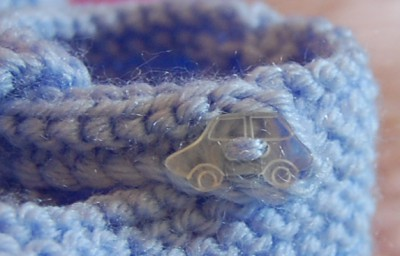 Baby Boy Bootees Car Button Detail