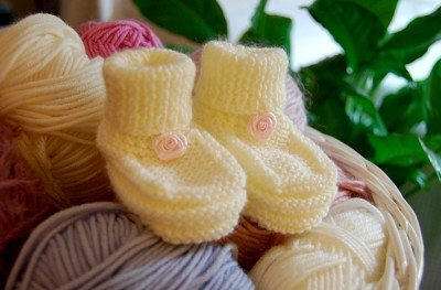 Cream Bootees with Rose