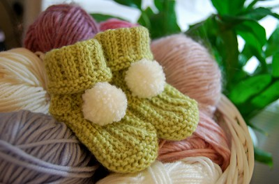 Green Bootees with PomPom